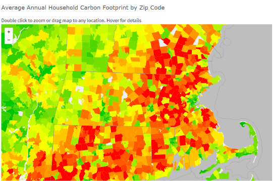 A State Wide view of emissions by zip code. Greater Boston is much lower than its suburban counterparts.